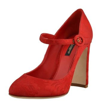 Dolce & Gabbana Women's Silk Red High Heels Mary Janes Shoes