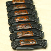 5 Personalized Laser Engraved DecoGrip Hunting/Pocket Knife Best Man Groomsman Birthday Fathers Day