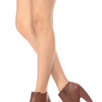 Chestnut Band Faux Leather Chunky Ankle Booties