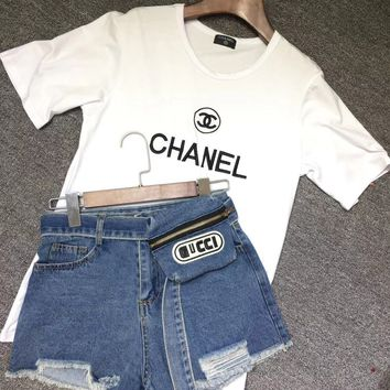 Chanel White T-shirt + GUCCI Bag Belt Denim Short Set Two-Piece