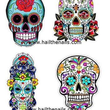 Sugar Skull Nail Art Water Transfer Decal