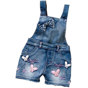 Girls Jumpsuit Washed Jeans Denim Romper Overall Pants