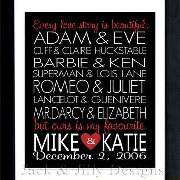 Valentine's Day Gift - PERSONALIZED FAMOUS COUPLES Print -  You Choose the Couples and Colours - Makes a Great Wedding or Anniversary Gift