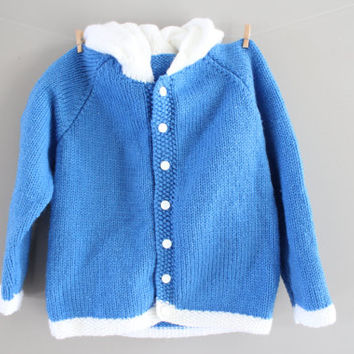 Hand Knitted Toddler Hooded Cardigan Blue White Contrast Cardigan Baby Button Up Hoodie Handmade Cardigan Baby Sweater Size 4 to 5 Years Old