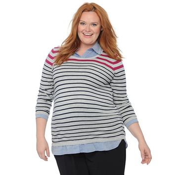 Oh Baby by Motherhood Mock-Layer Scoopneck Sweater - Plus Size Maternity, Size: