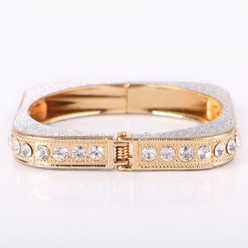 Shiny Jewelry Stylish New Arrival Hot Sale Geometric Silver Diamonds Bangle [11337093319]