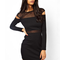Black Mesh Cut-Out Long Sleeve Asymmetrical Bodycon Mini Dress