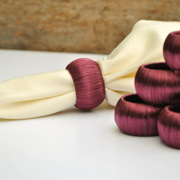 Dark Purple Napkin Rings - Wine - Set of 8 - Wedding Reception Decor - Plum