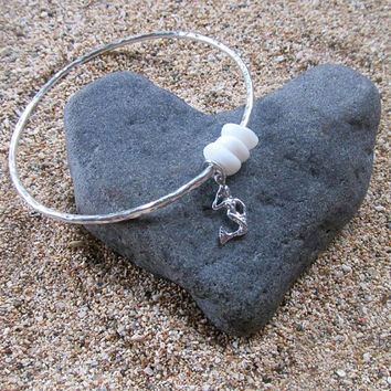 Mermaid Bangle, Sterling Silver, Puka Shells, Hammered, Surfer Girl, Hawaii Beach Jewelry, Summer Fashion