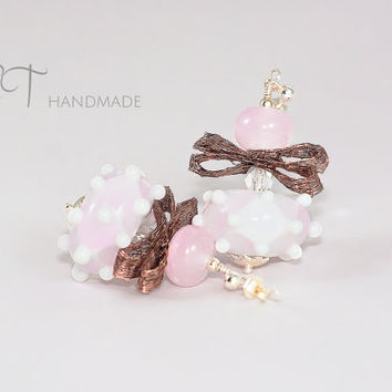 Playful bow pink earrings-Funny Murano glass and Sterling silver italian handmade artisan jewelry-bridesmaid party earrings-gift for her