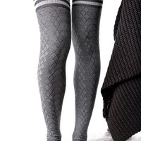 Fine Line Thigh-High Socks