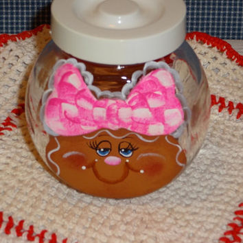 Gingerbread All Purpose Jar, Splenda Packet Holder, Tea Packet Holder, Button Jar,,Spice Jar,,