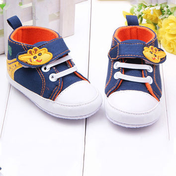 New Born Kids Boys Giraffe Canvas Anti-slip Infant Soft Sole Baby First Walker Toddler Shoes