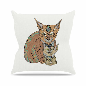 "Pom Graphic Design ""Mama And Baby Lynx"" Brown Teal Vector Animals Outdoor Throw Pillow"