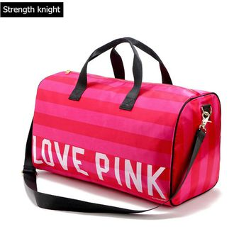 2017 Women Fashion Sexy Love Pink Handbags Barrel-Shaped Large Capacity Travel Duffle Striped Waterproof Beach Bag Shoulder Bag