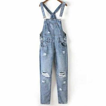 Fashion Bleach Wash Ripped Women's Denim Overalls - Blue M