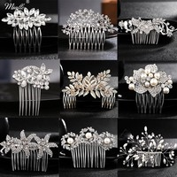 Miallo Rhinestone Hairpins Accessories for Bride Pearl Hair Side Combs for Women Hair Combs for Wedding with Pearls Ornaments