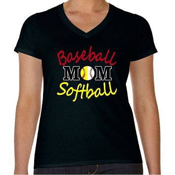 Baseball Softball Mom Plus Size T-Shirt - Women's Plus Size V-Neck T-Shirt
