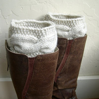 Winter Cream Boot cuffs - Beige Leg Warmers - Cable knit boot toppers  - Winter fashion 2013 - Chunky - Machine Washable - WINTER SALE