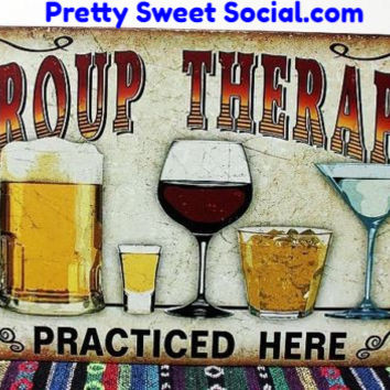 Vintage Group Therapy Metal Sign
