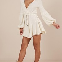 Not Your Hero Dress In Cream Produced By SHOWPO