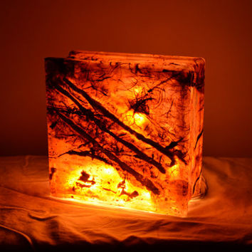 "Glass Box Lantern with String Lights in Golden Brown - ""Merch Light"""