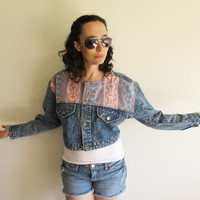 Vintage 80s 90s Cropped Pink Navajo Tribal Stone Wash Denim Jean Jacket