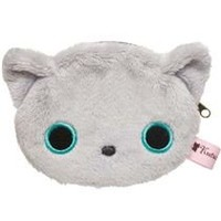 grey Kutusita Nyanko cat plush pouch wallet - Wallets - Accessories