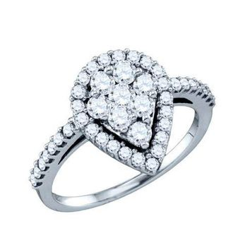 Ladies 10KT Round Brilliant Cut Diamond Engagement Pear Ring 1.03CT White Gold