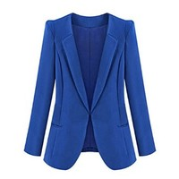 ZLYC Women Lady Fashion Basic Slim Fit Tailored Long Sleeve Casual Blazer Jacket