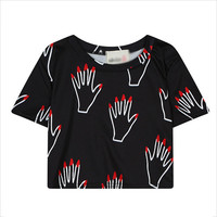 Black Red-Nail Hand Cropped T-Shirt and Pleated Mini Skirt