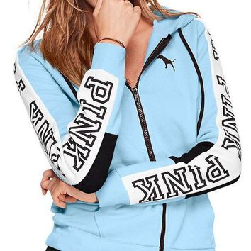 DCCKR2 Victoria s Secret Pink Stylish Women Loose Print Stitching Color Zipper Hoodie Long Sleeved Sweater Coat Sky Blue I