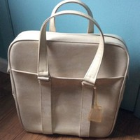 Vintage Samsonite Silhouette  Carry On Bag/Tote  Luggage Overnight Cream Beige