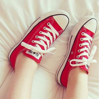 """""""Converse"""" Fashion Canvas Flats Sneakers Sport Shoes Red"""