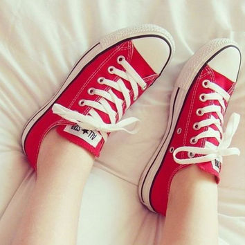 """Converse"" Fashion Canvas Flats Sneakers Sport Shoes Red"
