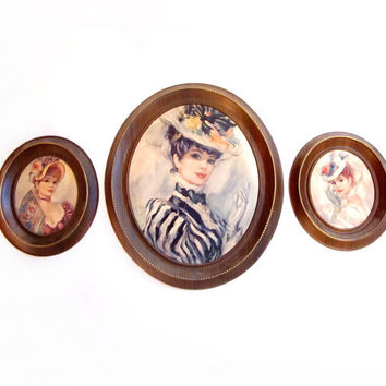 Vintage Framed Cameo Portrait Print Wall Art