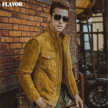 Men's yellow real leather jacket Genuine Leather jacket motorcycle coat denim jacket