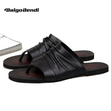 US-6-10 Men Vintage Genuine Leather Casual Flip Flop Slipper Casual Beach Sandals Summer Outdoor Shoes