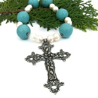 Italian Renaissance Style Pewter Cross Necklace, Turquoise Magnesite Pearls Handmade Jewelry