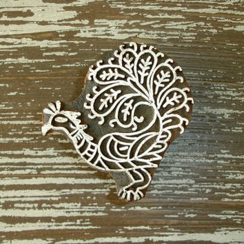 Peacock Stamp: Indian Wooden Printing Block, Hand Carved Wood Stamp, Clay Stamp, Bird, Ceramic Tile Pottery Stamp, Bohemian India Decor