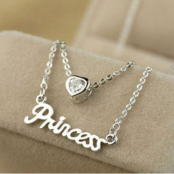 Women Party Dress Wedding Romantic Jewelry Exquisite Gold Plated Letter Princess Love Heart Zircon Pendant Double Layer Necklace