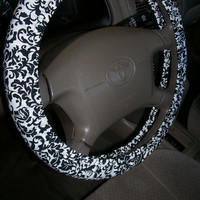 Black Leaves Steering Wheel Cover