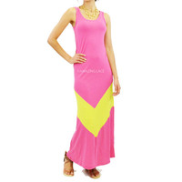 Laila Peaks Chevron Maxi Tank Dress Fuchsia