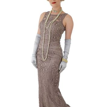 Beaded Mocha Soutache Embroidered Deco Design Evening Gown