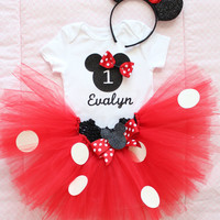 Beautiful Minnie Mouse Tutu Skirt, Headband, and Personalized Birthday Onesuit for Baby Girl 12 Months Old First Birthday Cake Smash