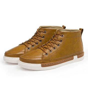 Men's Brogue Metal Eyelets Lace Up Casual Ankle Boots