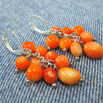 Orange Coral  cluster Earrings, drop dangles, long earring with natural corals, organic jewelry, natural gemstone, rowan berry color jewelry