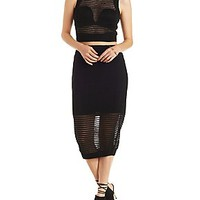 REHAB SHEER STRIPED CROP TOP & SKIRT HOOK-UP