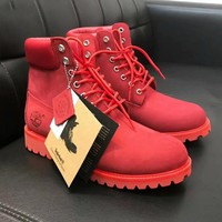 Timberland Rhubarb Boots Fashion Men Women Shoes Waterproof Martin Boots Lovers Red