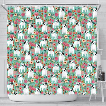 French Bulldog Floral Print Shower Curtains-Free Shipping